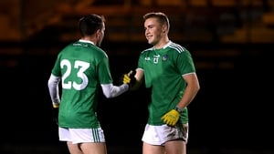 Limerick's Davey Lyons and Hugh Bourke celebrate after the win in Waterford