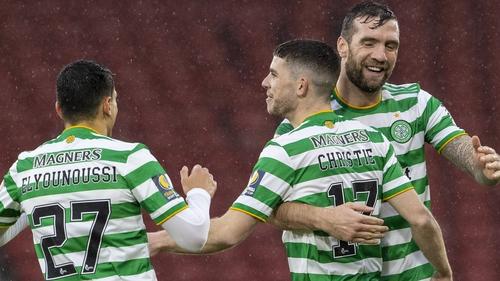 Shane Duffy (right) celebrates with Celtic goalscorer Ryan Christie