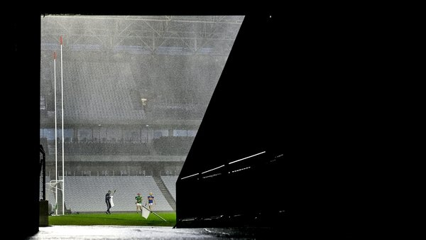 Rain and wind add to the atmosphere at Páirc Uí Chaoimh in Cork at the Munster hurling semi-final between Tipperary and Limerick. Photo: Brendan Moran/Sportsfile via Getty Images