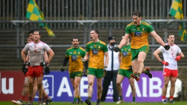 Hugh McFadden jumps for joy as Donegal beat Tyrone in the Ulster football championship