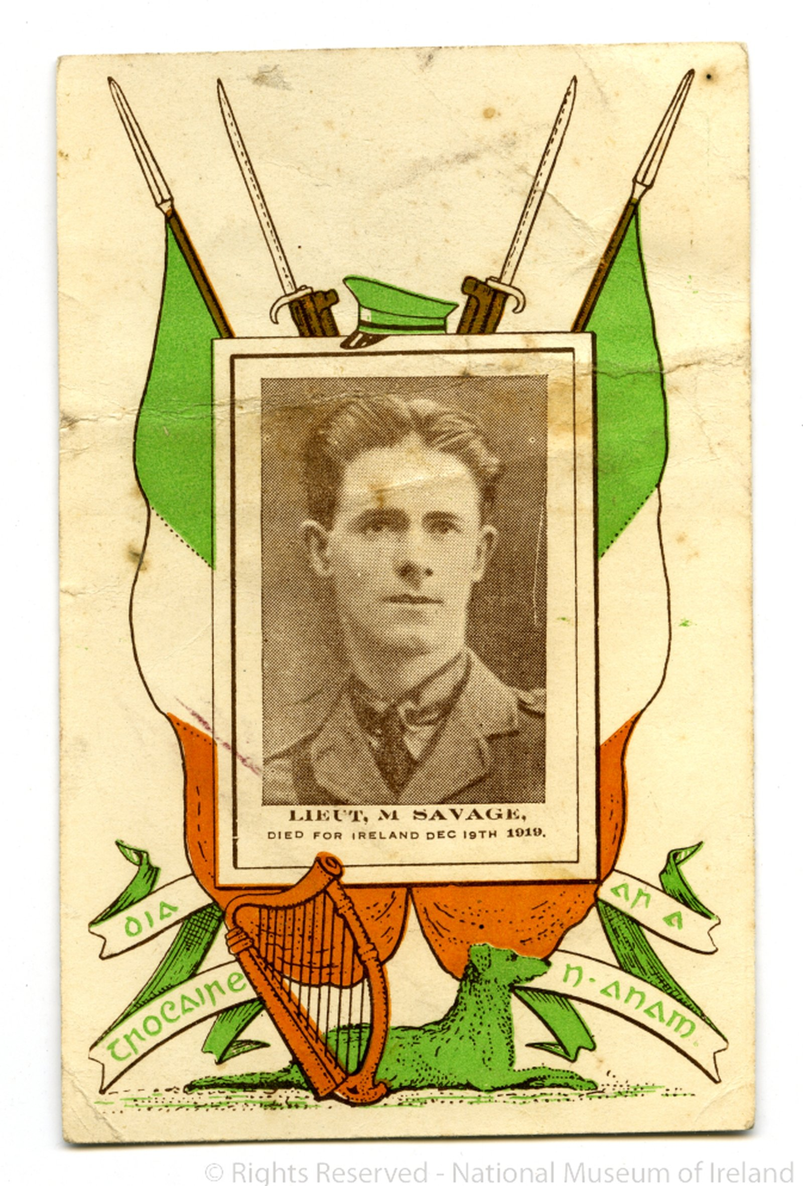 Image - Commemorative postcard for Martin Savage, 'Died for Ireland, Dec 19th, 1919' Image courtesy of the National Museum of Ireland