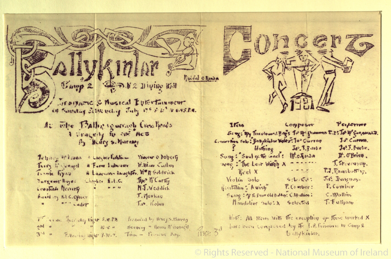 Image - Ballykinlar Players theatre programme, August 1921. Image courtesy of the National Museum of Ireland