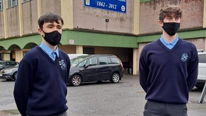 Fifth-year students Evan Forde and Conor Salmon welcome the return to school