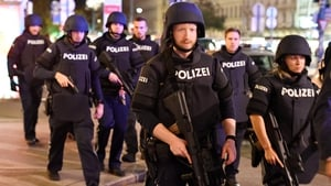 Armed police on patrol in central Vienna tonight following a shooting near a synagogue