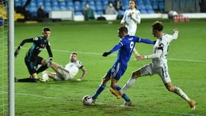 Jamie Vardy strikes from close range for the Foxes' third goal at Elland Road