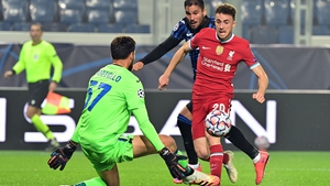 Diogo Jota (R) gives Liverpool the lead
