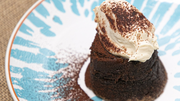 Eunice Power's baked chocolate puddings with Ferraro Rocher and mascarpone cream.