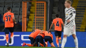 Demba Ba celebrates Basaksehir's opening goal against Manchester United with team-mates