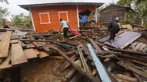 Residents search for their belongings in Bilwi - also known as Puerto Cabezas - in Nicaragua