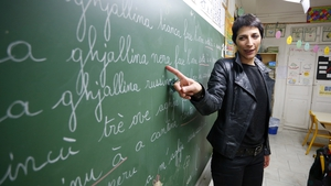 """""""The Corsican language is in a very different situation to that of French Flemish"""".A teacher teaches Corsican to pupils on the island of Corsica. Photo: Pascal Pochard-Casabianca/AFP via Getty Images"""