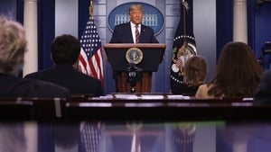 US President Donald Trump addressing the media at the White House
