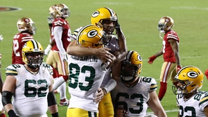Marquez Valdes-Scantling (no 83) celebrates a touchdown reception with Aaron Rodgers