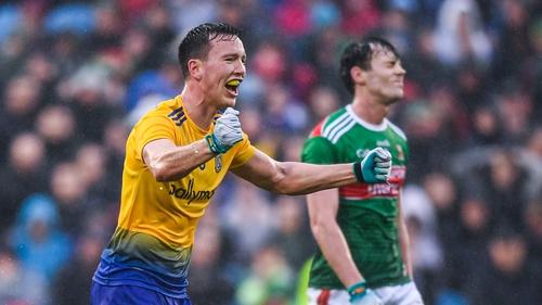 Roscommon's Tadgh O'Rourke celebrates the Connacht SFC semi-final win over Mayo in 2019