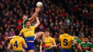 Aidan O'Shea and Tadgh O'Rourke contesting a high back in last year's semi-final