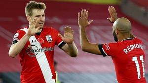 Stuart Armstrong celebrates with Nathan Redmond after scoring Southampton's second goal