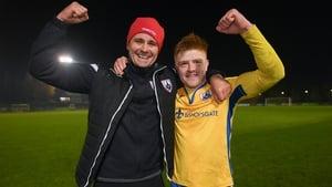 Longford boss Daire Doyle and goalscorer Aodh Dervin celebrate at Belfield