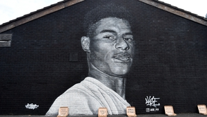 A mural of Marcus Rashford in Manchester
