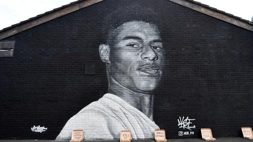 A mural of Marcus Rashford in Manchester