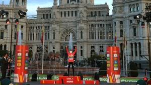 Primoz Roglic celebrates his triumph