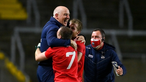 Ronan McCarthy celebrates with his players