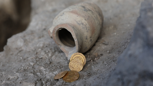 The four pure gold coins were found in a small jug near the Western Wall, Jerusalem