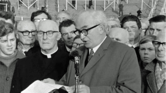 Eamonn de Barra speaking at Bloody Sunday Commemorations in Croke Park (1970)