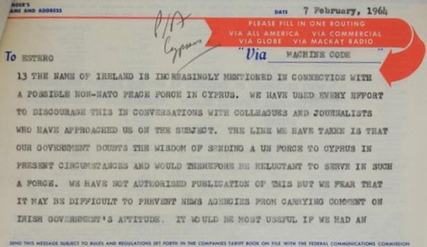 Telegram from Irish delegation to UN, 7 February 1964.