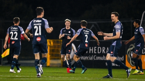 Sligo players celebrate Jesse Devers' opener