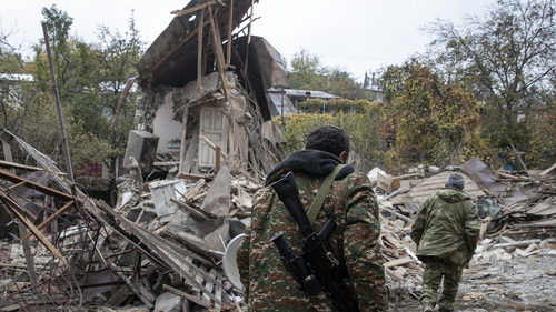 The clashes have forced thousands to flee their homes leaving Stepanakert a ghost town devastated after weeks of shelling