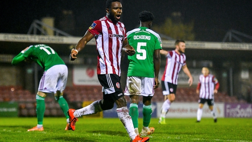 James Akintunde of Derry City celebrates after equalising
