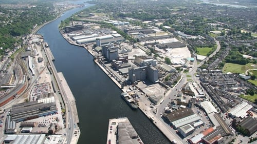 An aerial view of the docklands area in Cork