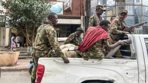 Members of the Amhara militia that fight alongside federal and regional forces against the northern region of Tigray