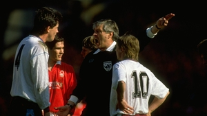 Keith Hackett gives West Ham's Tony Gale his marching orders in the Irons' loss to Nottingham Forest in the 1991 FA Cup semi-final