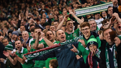 Republic of Ireland supporters in good spirits before the 2017 play-off game against Denmark
