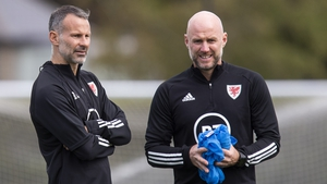 Wales boss Ryan Giggs (L) with his assistant Robert Page