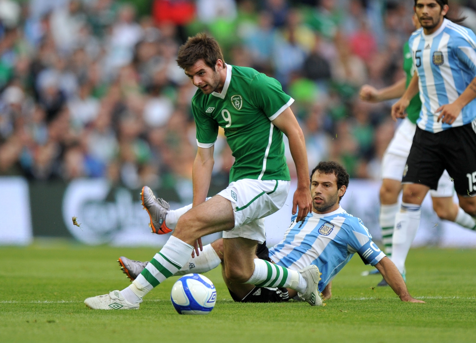 Image - Cillian Sheridan tackled by Javier Mascherano of Argentina in 2010 during one of his three Ireland senior caps days before linking up with CSKA
