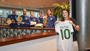Katie Taylor is preparing to defend her world lightweight titles, while Ireland face England on Thursday