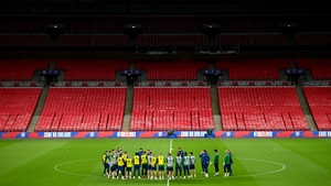 The Ireland team trained at Wembley on the eve of the game