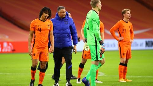 Nathan Ake walks off injured at the Johan Cruijff Arena in Amsterdam