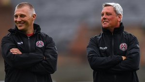 Bohemians boss Keith Long (R) with his assistant manager Trevor Croly