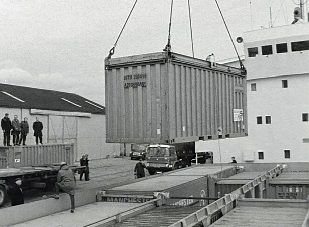 Container Shipping at Waterford Port (1970)