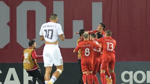 Goran Pandev celebrates after scoring the crucial North Macedonian winner