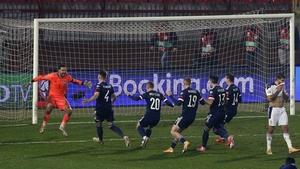 Scotland's David Marshall celebrates saving from Serbia's Aleksandar Mitrovic
