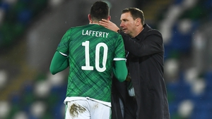Northern Ireland boss Ian Baraclough consoles Kyle Lafferty at Windsor Park