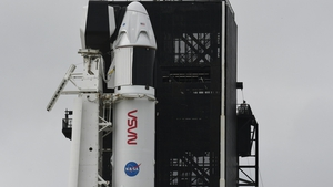 SpaceX Falcon 9 rocket and Crew Dragon capsule ready to launch at NASA in Cape Canaveral, Florida