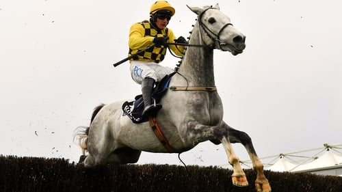 Asterion Forlonge and Paul Townend jump the last on their way to winning the Beginners' Chase at Punchestown.