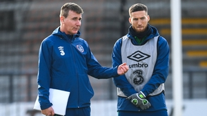 Stephen Kenny speaking to Matt Doherty earlier this week in training