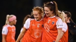 Blaithin Mackin (l) and Tiarna Grimes celebrate a famous Armagh victory