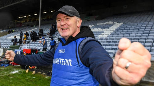 Brian Lohan celebrates his team's victory in O'Moore Park