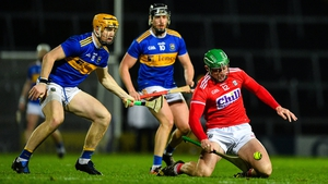 Robbie O'Flynn of Cork in action against Tipp's Jake Morris at the Gaelic Grounds.